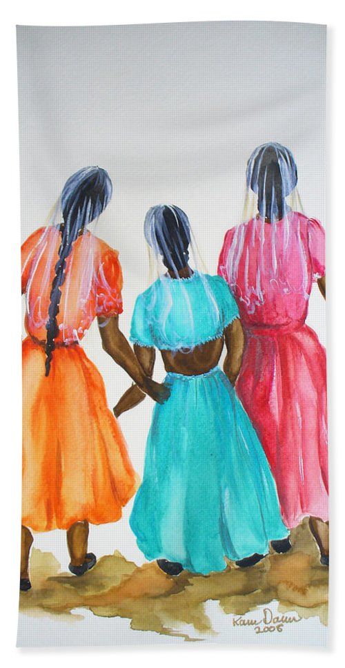 Three Ladies East Indian Beach Towel featuring the painting 3bff by Karin Dawn Kelshall- Best