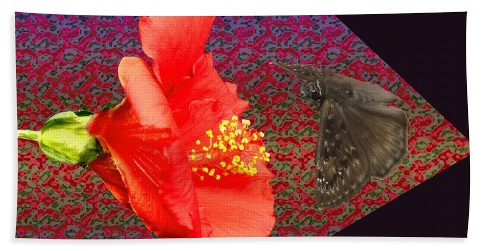 Hibiscus Flower Beach Towel featuring the photograph 3d Butterfly by Donna Brown