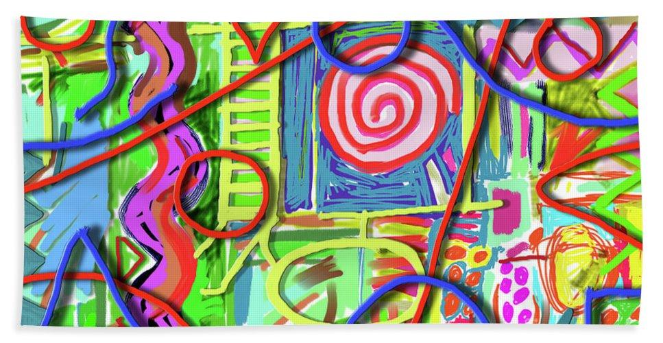 Jazz Beach Towel featuring the painting 3d Jazz by Joe Roache