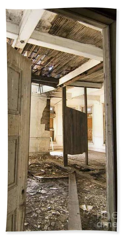 Preston Castle Beach Towel featuring the photograph 3rd Floor Door And Ruined Room by Norman Andrus