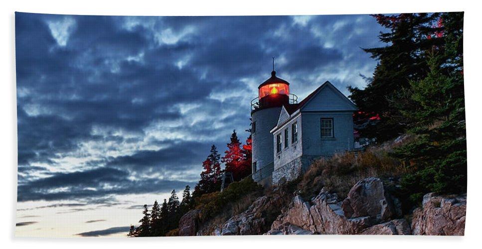 Acadia Beach Towel featuring the photograph Bass Harbor Lighthouse by John Greim
