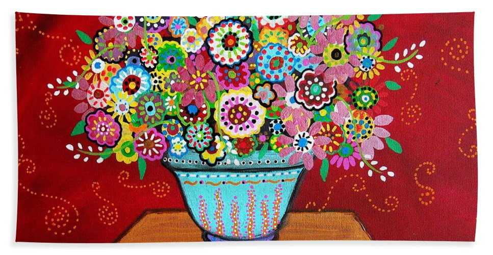 Flower Beach Towel featuring the painting Blooms by Pristine Cartera Turkus