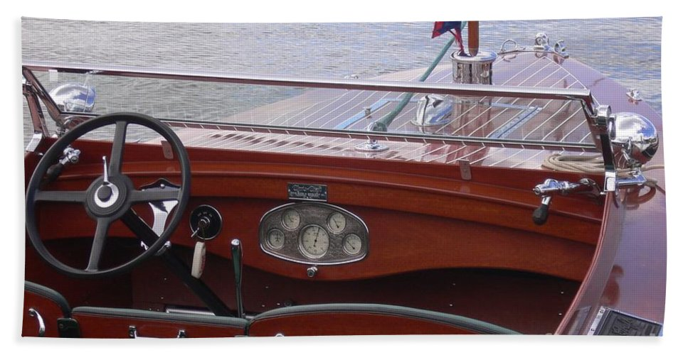 Chris Craft Beach Towel featuring the photograph Chris Craft Runabout by Neil Zimmerman