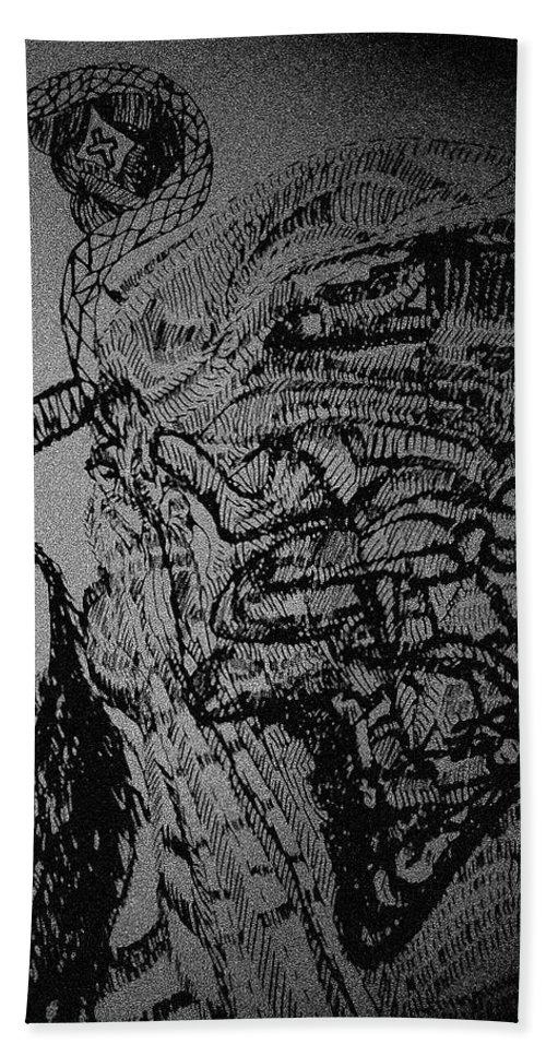 Tilesjesus Elohimplaquesmamamama Africa Twojesus Beach Towel featuring the drawing Jesus The Good Shepherd by Gloria Ssali