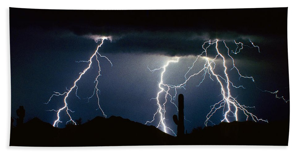 Landscape Beach Towel featuring the photograph 4 Lightning Bolts Fine Art Photography Print by James BO Insogna