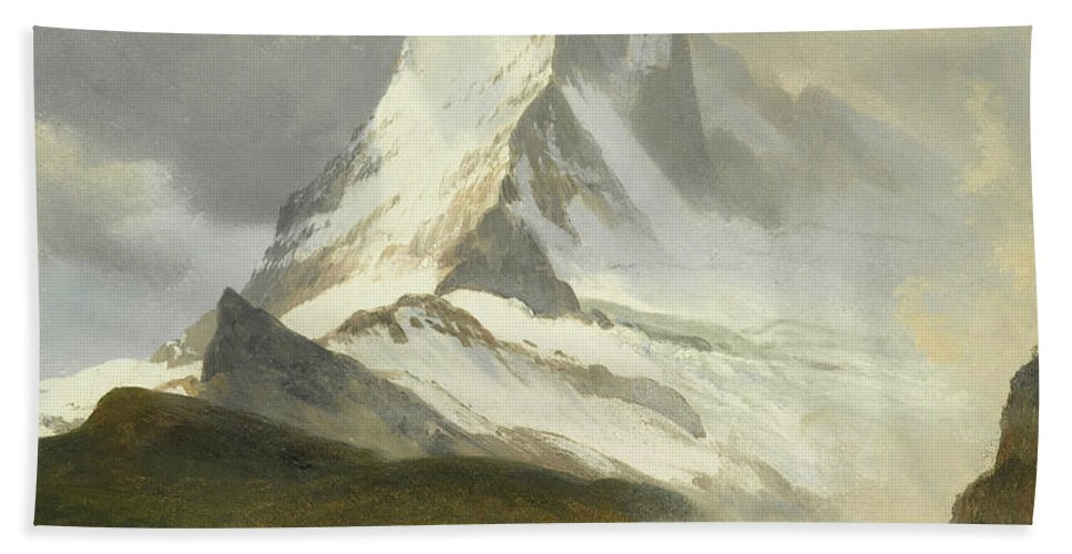 American Art Beach Towel featuring the painting Matterhorn by Albert Bierstadt