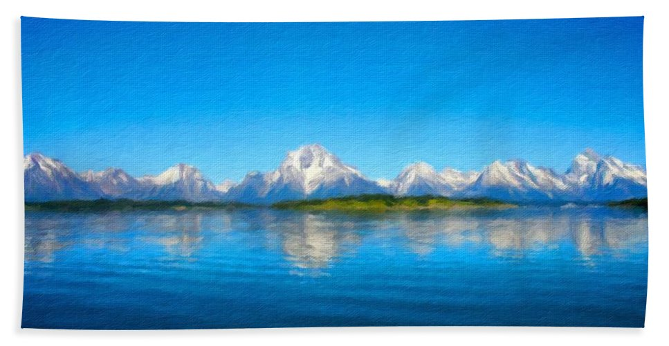 Landscape Beach Towel featuring the digital art Painting Landscape by Malinda Spaulding