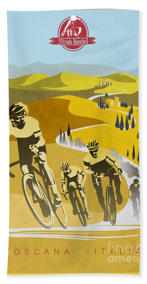 Vintage Cycling Beach Towel featuring the painting Print by Sassan Filsoof