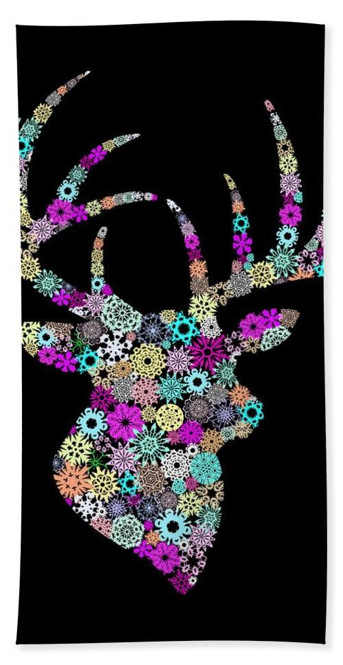 Animal Beach Towel featuring the painting Reindeer Design By Snowflakes by Setsiri Silapasuwanchai