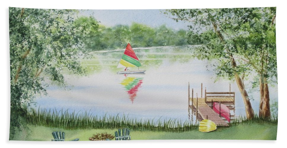 Lake Beach Towel featuring the painting 4 Seasons-summer by Deborah Ronglien