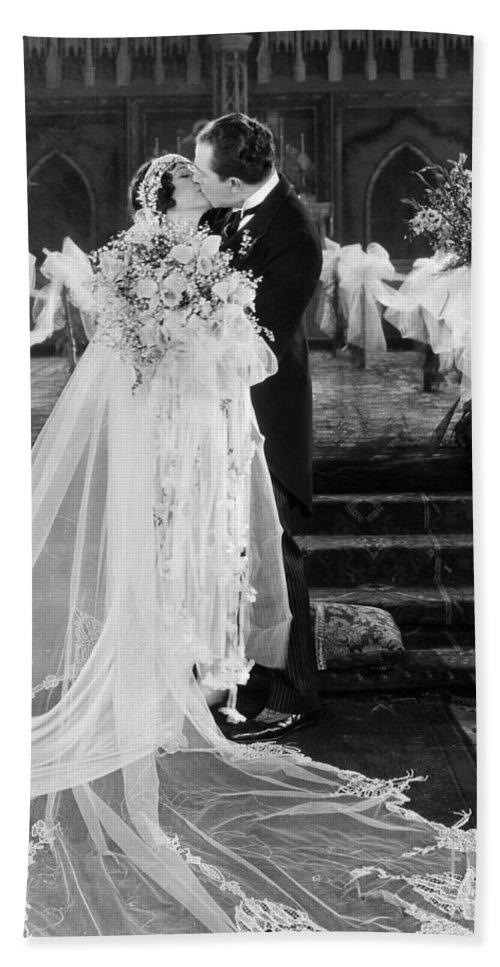 -weddings & Gowns- Beach Towel featuring the photograph Silent Film Still: Wedding by Granger