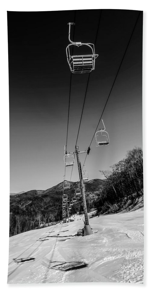 Activity Beach Towel featuring the photograph Ski Lift by Alex Grichenko