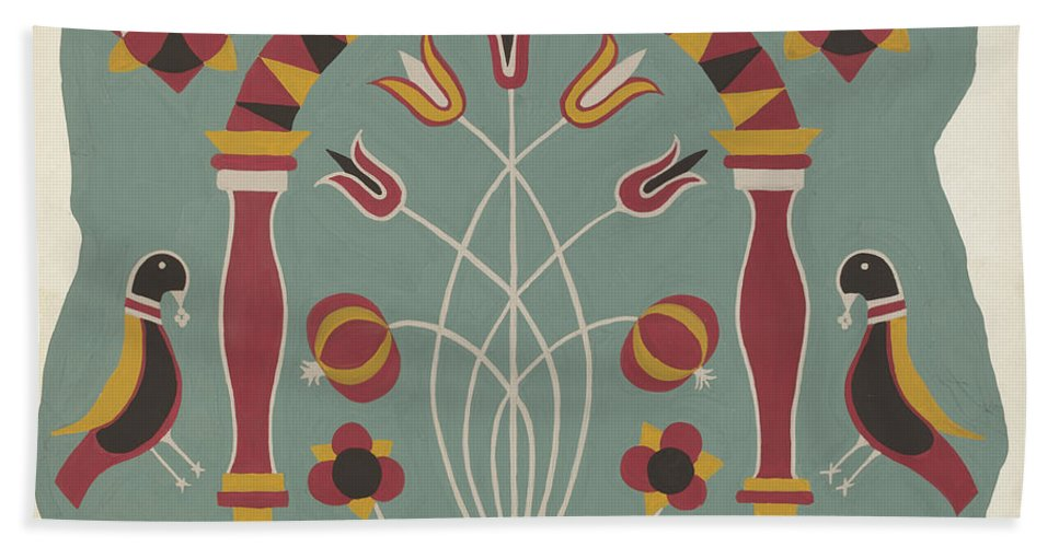 """Beach Towel featuring the drawing Study For Proposed Portfolio """"decorated Chests Of Rural Pennsylvania"""" by American 20th Century"""