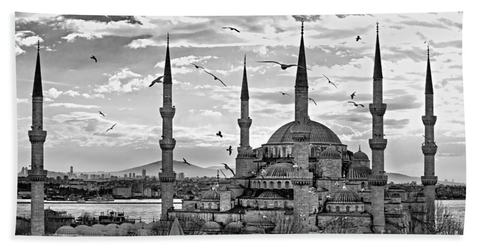 Arabic Beach Towel featuring the photograph The Blue Mosque - Istanbul by Luciano Mortula
