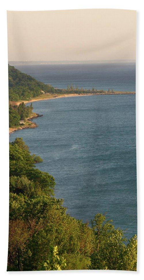 Arcadia Michigan Beach Towel featuring the photograph The Point by Linda Kerkau