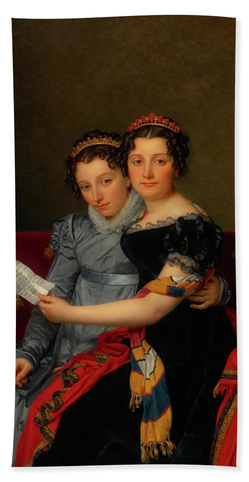 Painting Beach Towel featuring the painting The Sisters Zenaide And Charlotte Bonaparte by Mountain Dreams