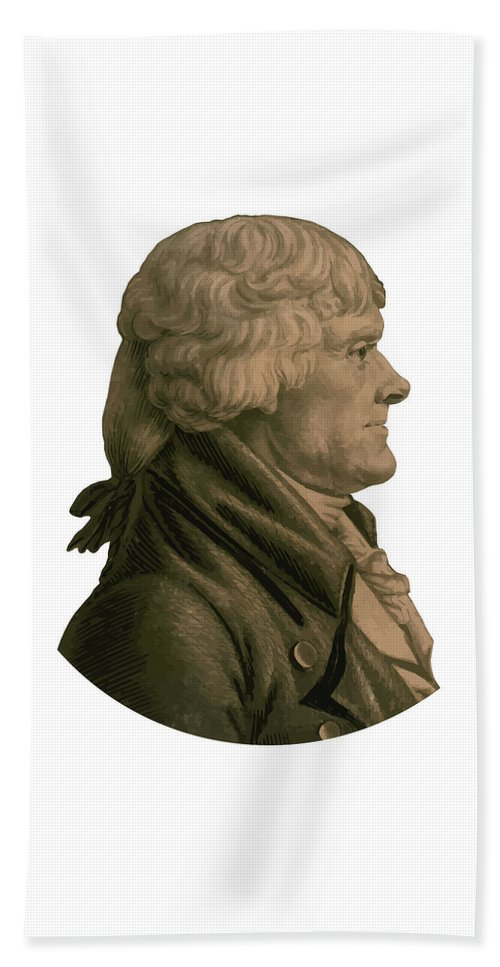 Thomas Jefferson Beach Towel featuring the painting Thomas Jefferson Profile by War Is Hell Store
