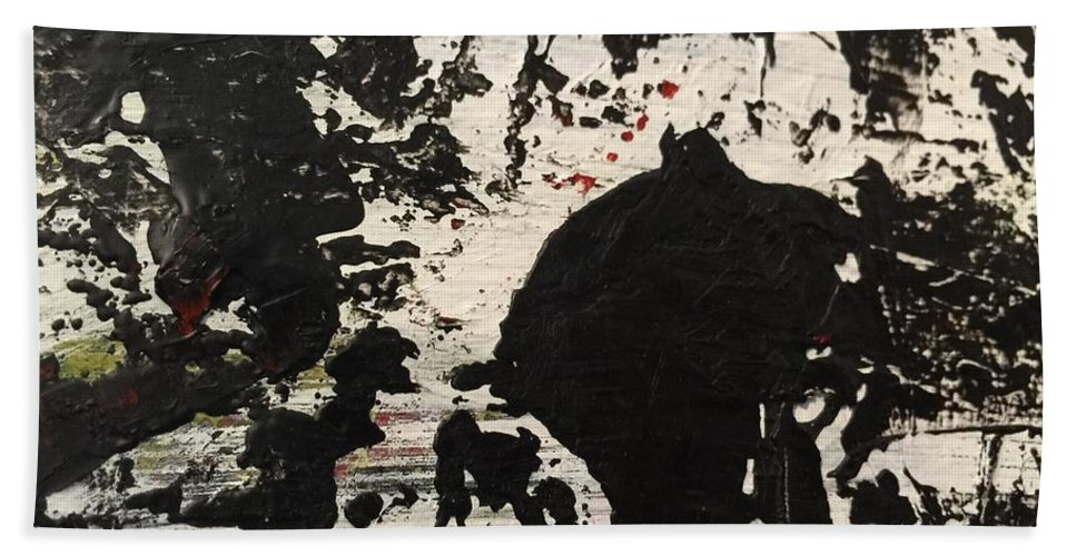 Abstract Beach Towel featuring the painting Untitled by Kyle Braund