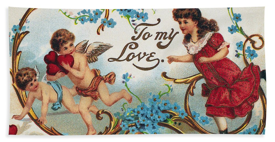 1910 Beach Towel featuring the photograph Valentines Day Card by Granger