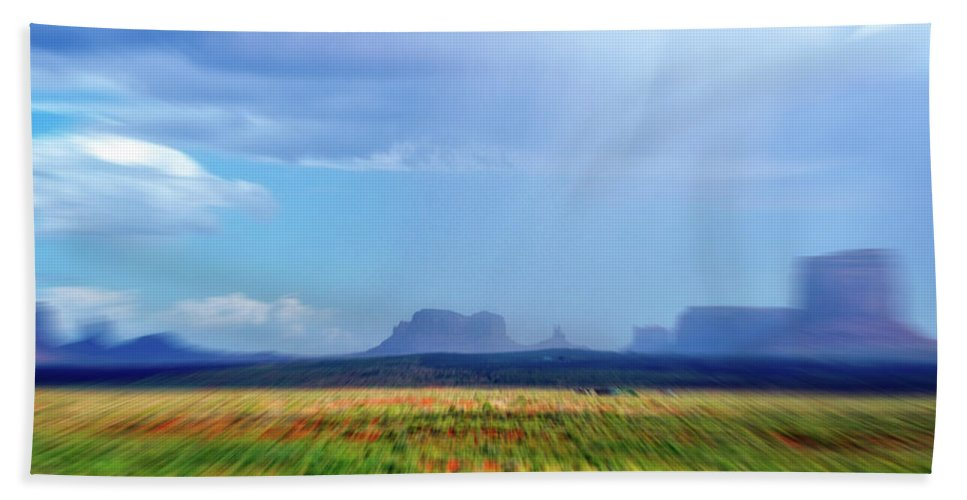 Monument Valley Beach Towel featuring the mixed media 4 Wheeling With The Storm Cell Approaching Monument Valley 06 4 by Thomas Woolworth