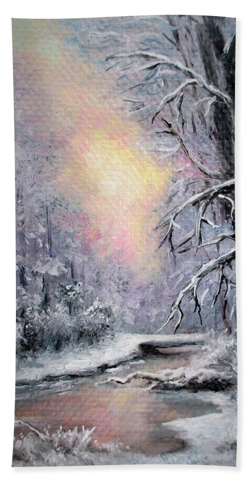 Winter Sunset Beach Towel featuring the painting Winter aceo original painting by Natalja Picugina