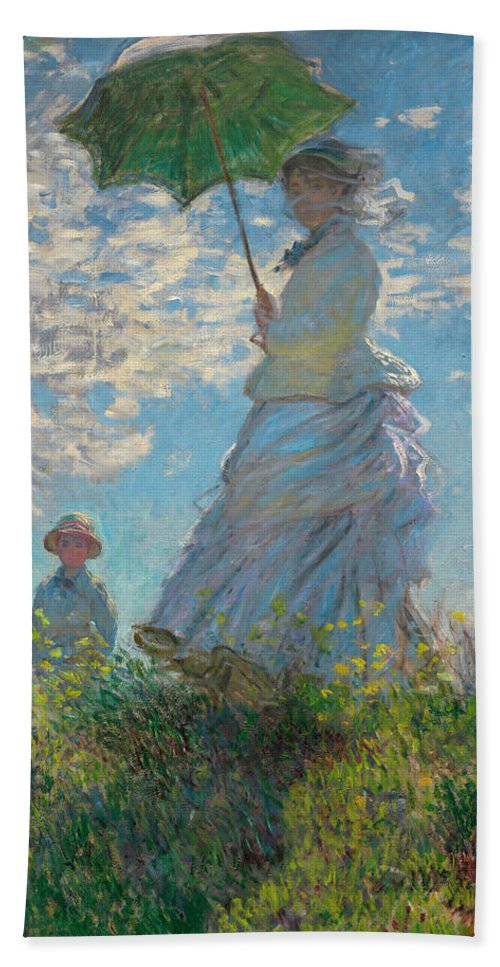 Woman With A Parasol Beach Towel featuring the painting Woman With A Parasol - Madame Monet And Her Son by Claude Monet