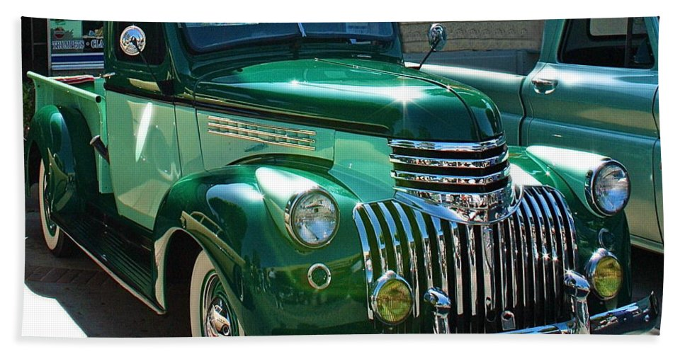 Photograph Of Classic Truck Beach Towel featuring the photograph 41 Chevy Truck by Gwyn Newcombe