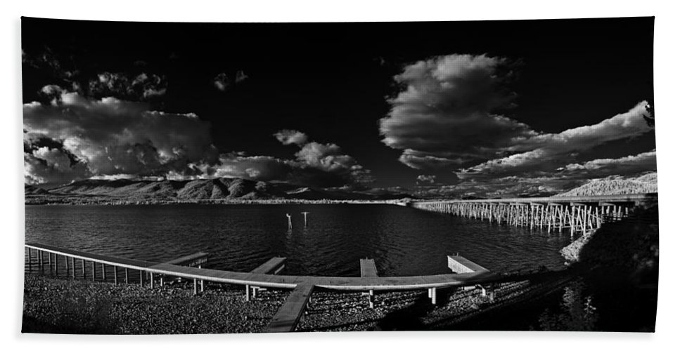 B&w Beach Towel featuring the photograph 41 South And The Longbridge by Lee Santa