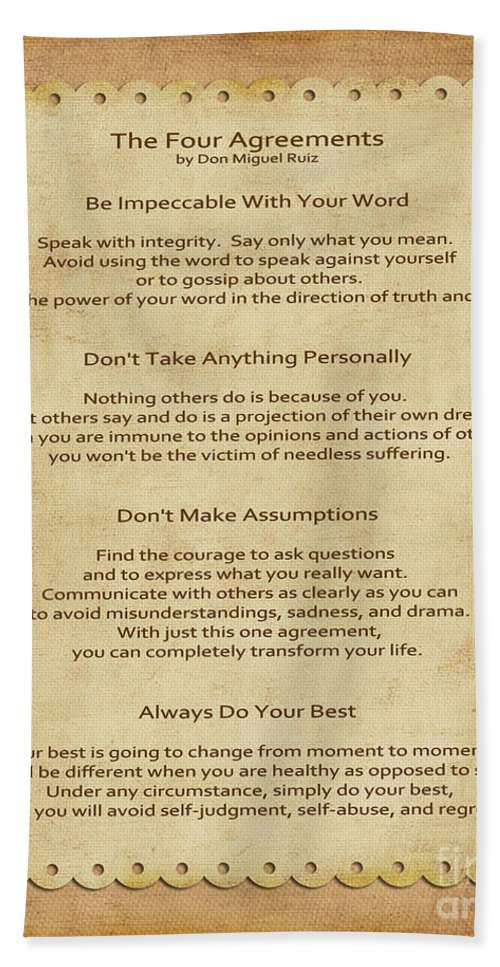 41 The Four Agreements Beach Sheet For Sale By Joseph Keane
