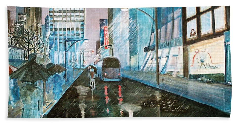 Street Scape Beach Towel featuring the painting 42nd Street Blue by Steve Karol