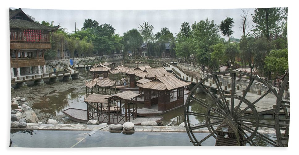 Asia Beach Towel featuring the photograph 4359- Water Wheel by David Lange