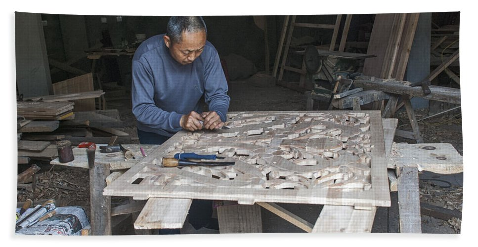 Asia Beach Towel featuring the photograph 4466- Wood Carver by David Lange