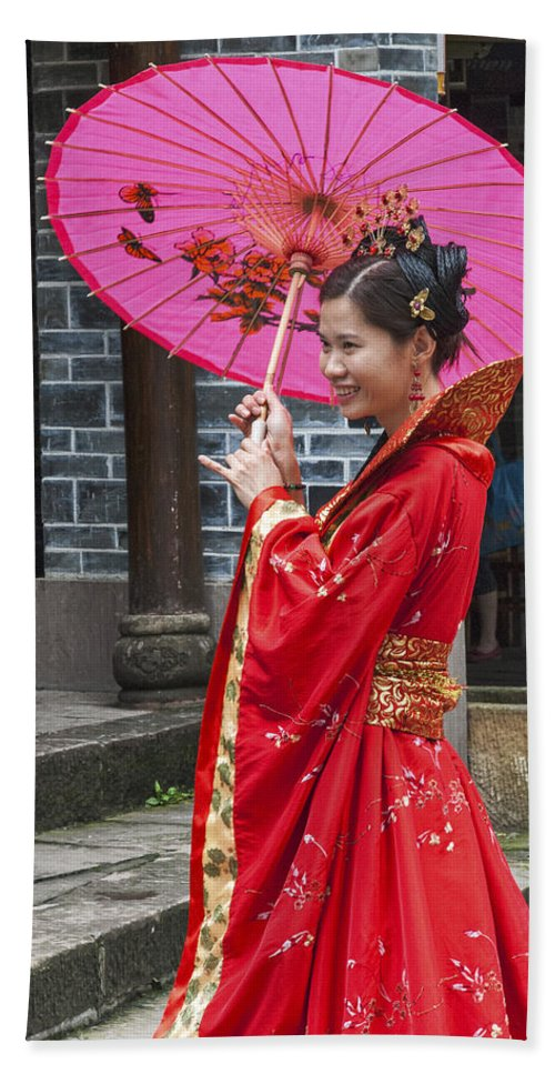 Asia Beach Towel featuring the photograph 4503- Girl With Umbrella by David Lange