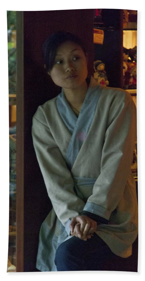 Asia Beach Towel featuring the photograph 4625- Shop Girl by David Lange