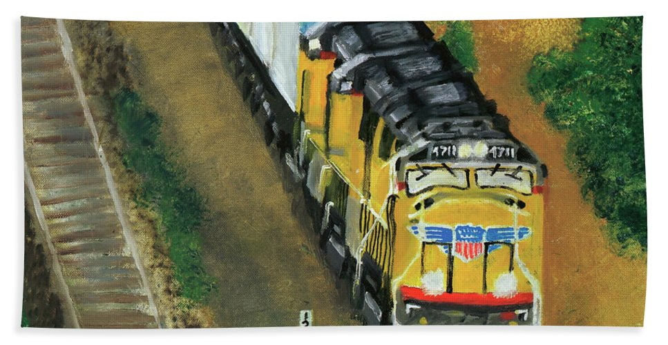 Train Beach Towel featuring the painting 4711 by Terry Lewey