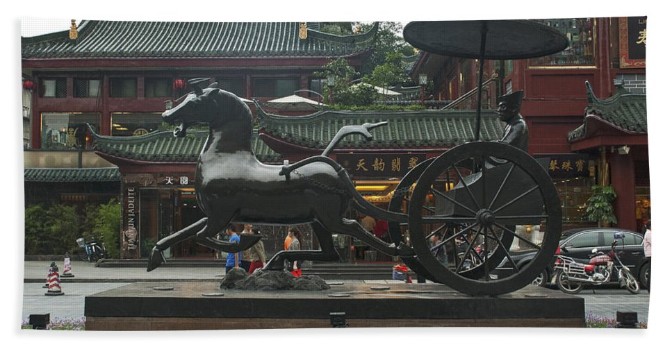 Asia Beach Towel featuring the photograph 4721- Statue by David Lange