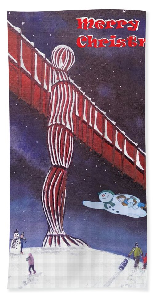 Angel Christmas Beach Towel featuring the painting Angel Of The North by Neal Crossan