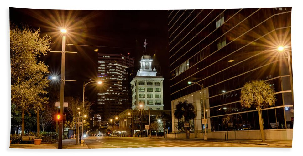Tampa Beach Towel featuring the photograph Downtown Tampa Florida Skyline At Night by Alex Grichenko