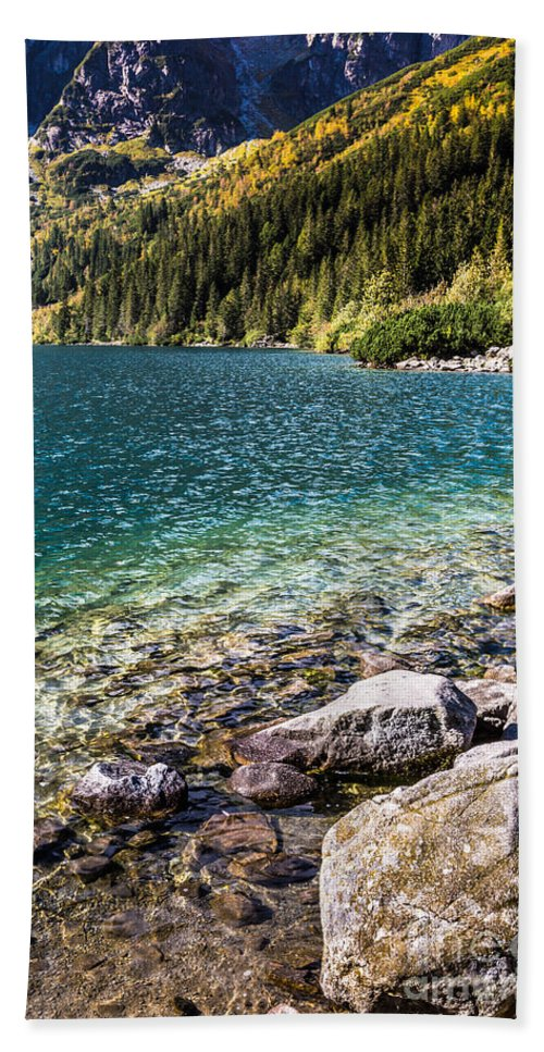 Hill Beach Towel featuring the photograph Green Water Mountain Lake Morskie Oko, Tatra Mountains, Poland by Mariusz Prusaczyk