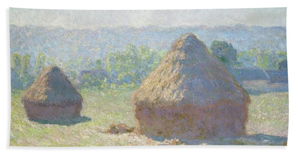 Monet Beach Towel featuring the photograph Haystacks, End Of Summer by Claude Monet