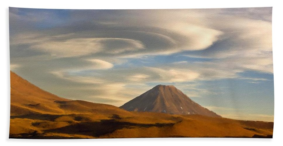 Landscape Beach Towel featuring the digital art K D Landscape by Malinda Spaulding