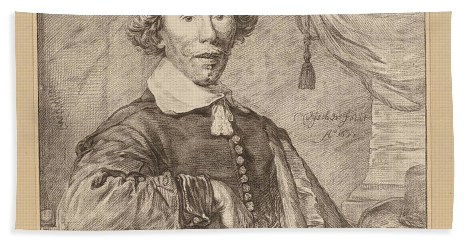 Beach Towel featuring the drawing Portrait Of A Seated Man by Cornelis Ploos Van Amstel And Johannes Kornlein After Cornelis Visscher
