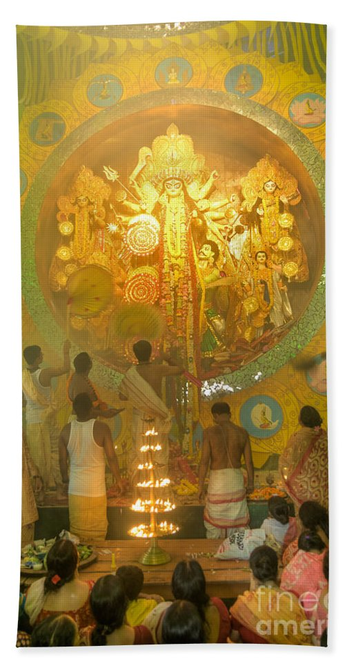 Durga Beach Towel featuring the photograph Priest Praying To Goddess Durga Durga Puja Festival Kolkata India by Rudra Narayan Mitra