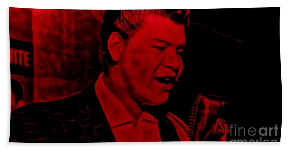 Ritchie Valens Beach Towel featuring the mixed media Ritchie Valens Collection by Marvin Blaine
