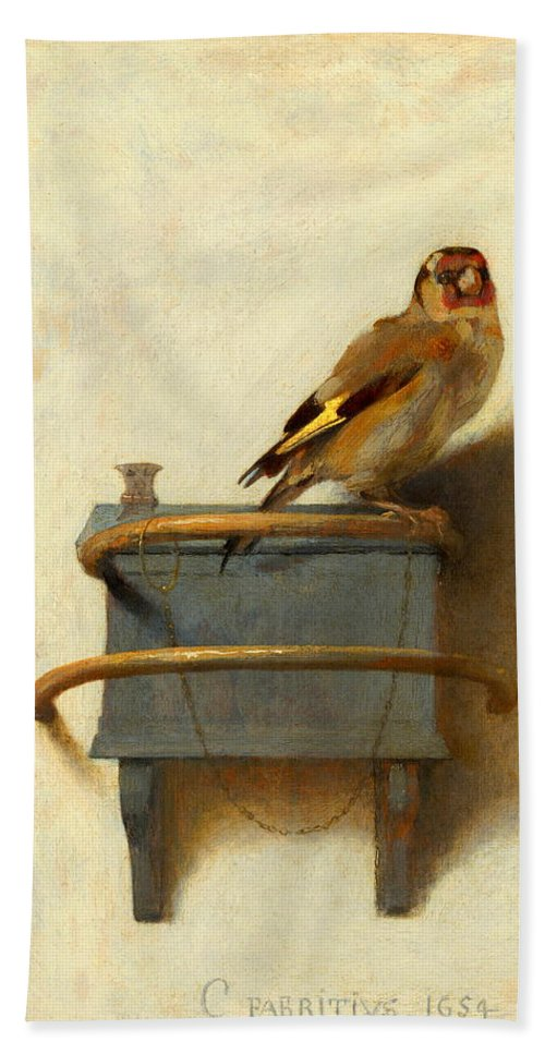 Owl Beach Towel featuring the painting The Goldfinch by Carel Fabritius