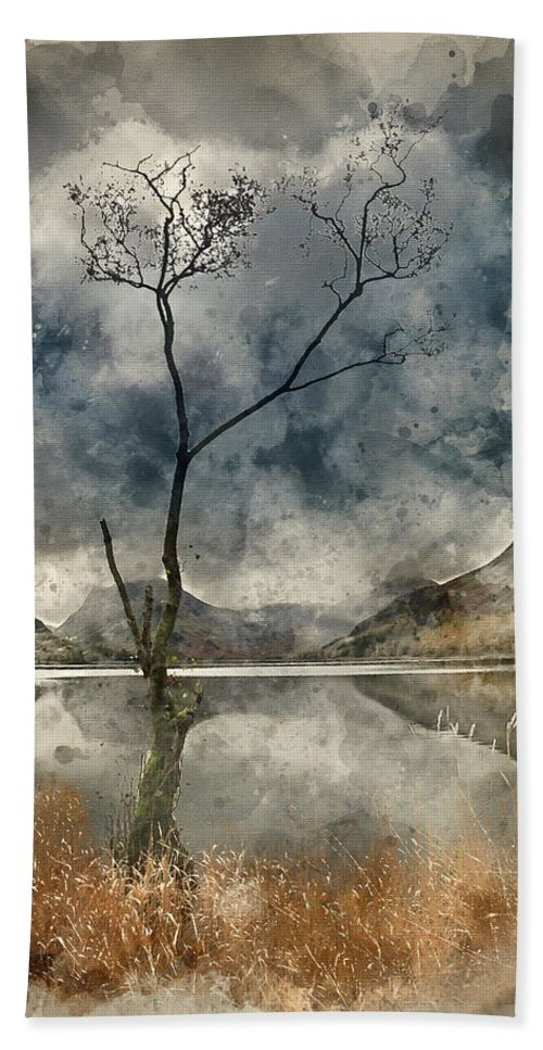 Landscape Beach Towel featuring the photograph Watercolour Painting Of Beautiful Autumn Fall Landscape Image Of by Matthew Gibson