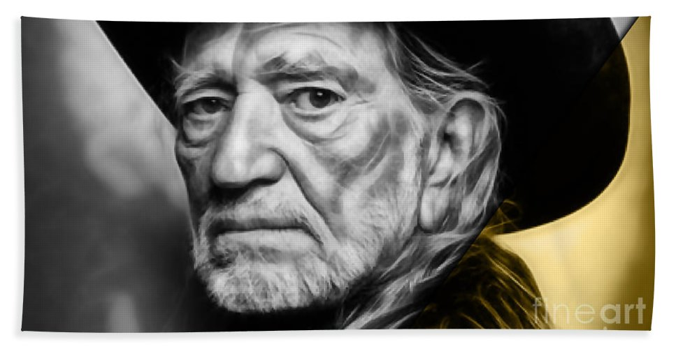 Willie Nelson Beach Towel featuring the mixed media Willie Nelson Collection by Marvin Blaine