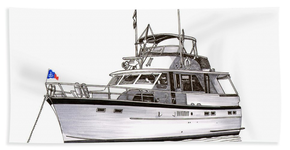 Thanks Beach Towel featuring the painting 50 Foot Hatteras Motoryacht by Jack Pumphrey