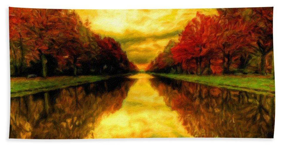 Landscape Beach Towel featuring the digital art Painters Landscape by Malinda Spaulding