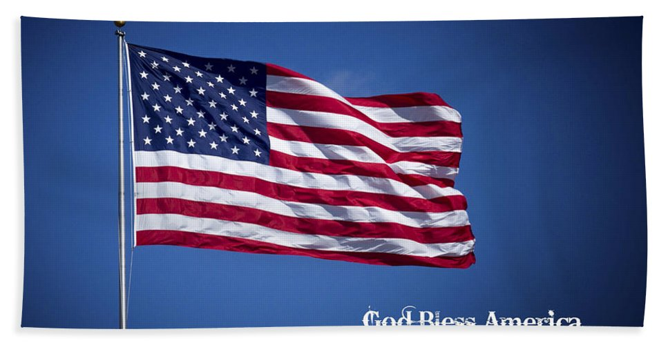 50 Stars Thirteen Stripes American Flag God Bless America Beach